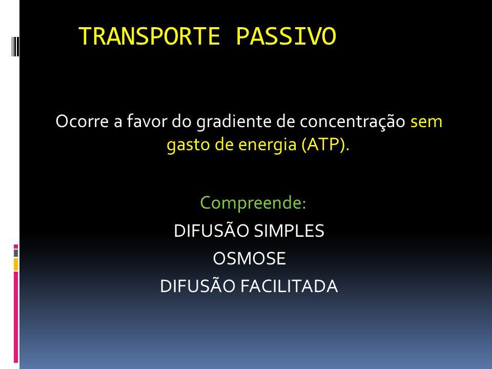 TRANSPORTE PASSIVO Ocorre a favor do gradiente de concentração sem gasto de energia (ATP).