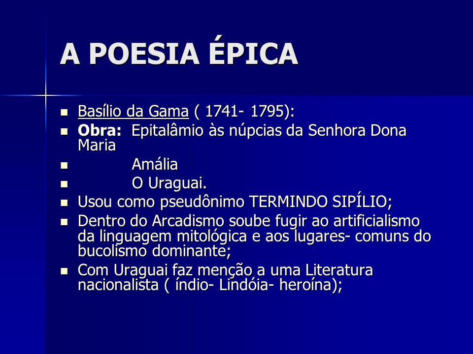 A POESIA ÉPICA Basílio da Gama ( 1741- 1795): Basílio da Gama ( 1741- 1795): Obra: Epitalâmio às núpcias da Senhora Dona Maria Obra: Epitalâmio às núp