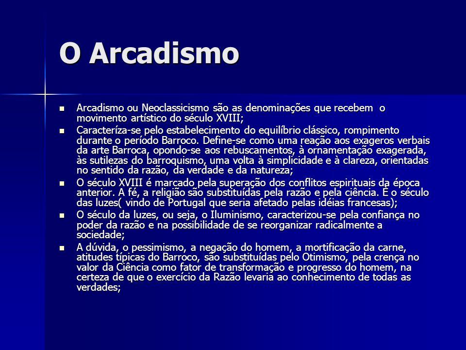 O Arcadismo Arcadismo ou Neoclassicismo são as denominações que recebem o movimento artístico do século XVIII; Arcadismo ou Neoclassicismo são as deno