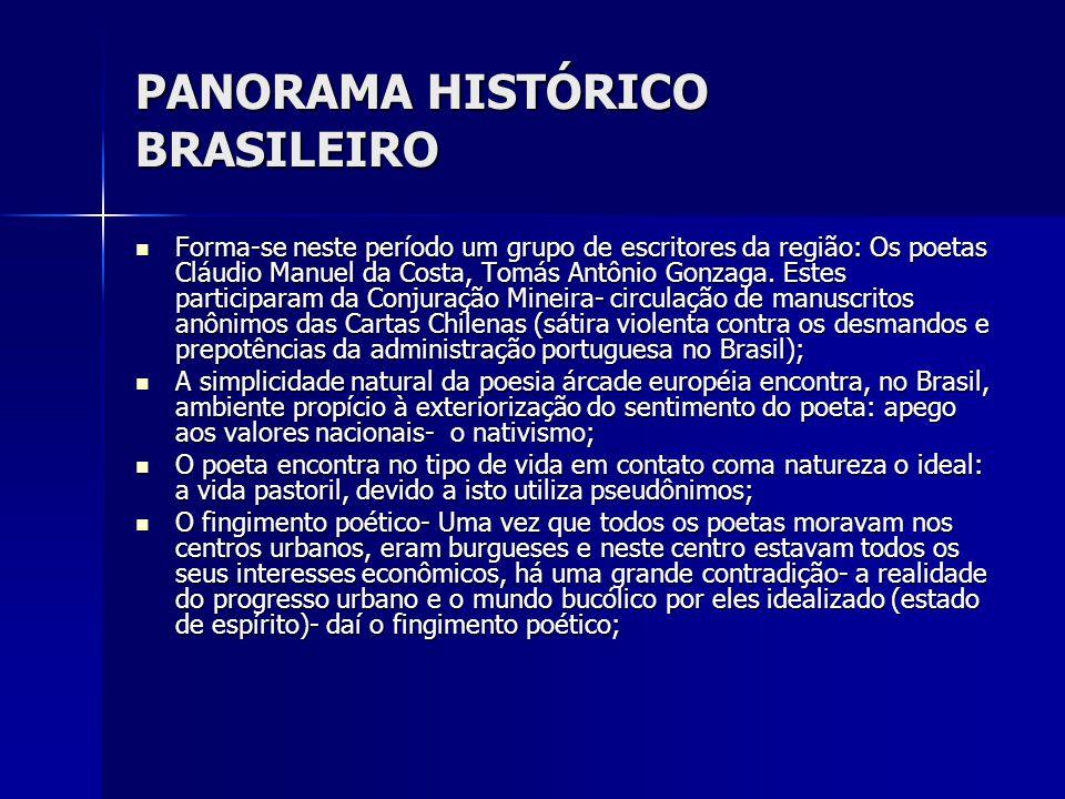 PANORAMA HISTÓRICO BRASILEIRO Forma-se neste período um grupo de escritores da região: Os poetas Cláudio Manuel da Costa, Tomás Antônio Gonzaga. Estes