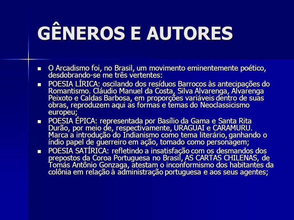 GÊNEROS E AUTORES O Arcadismo foi, no Brasil, um movimento eminentemente poético, desdobrando-se me três vertentes: O Arcadismo foi, no Brasil, um mov