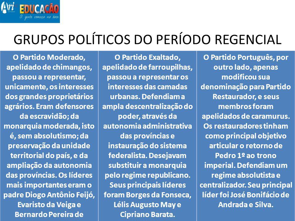GRUPOS POLÍTICOS DO PERÍODO REGENCIAL O Partido Moderado, apelidado de chimangos, passou a representar, unicamente, os interesses dos grandes propriet