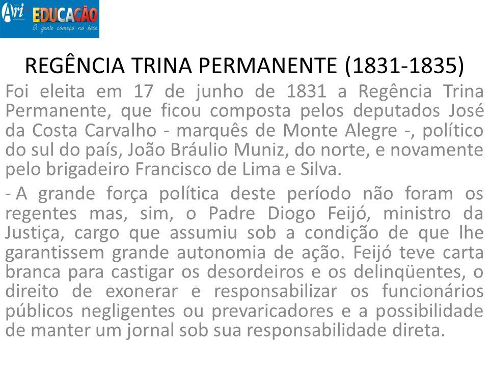 REGÊNCIA TRINA PERMANENTE (1831-1835) Foi eleita em 17 de junho de 1831 a Regência Trina Permanente, que ficou composta pelos deputados José da Costa
