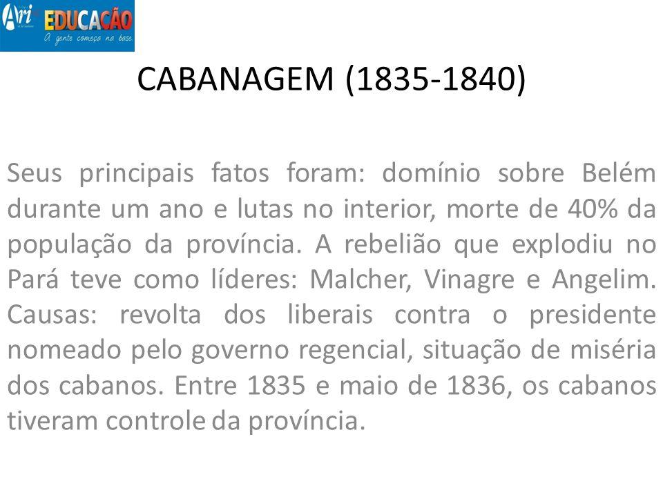 CABANAGEM (1835-1840) Seus principais fatos foram: domínio sobre Belém durante um ano e lutas no interior, morte de 40% da população da província. A r