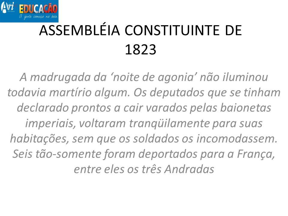 ASSEMBLÉIA CONSTITUINTE DE 1823 A madrugada da noite de agonia não iluminou todavia martírio algum. Os deputados que se tinham declarado prontos a cai
