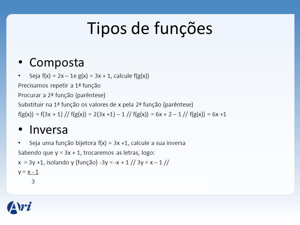 Tipos de funções Composta Seja f(x) = 2x – 1e g(x) = 3x + 1, calcule f(g(x)) Precisamos repetir a 1ª função Procurar a 2ª função (parêntese) Substitui