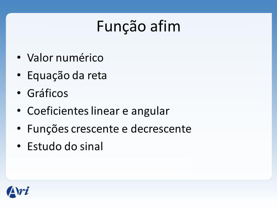 Função afim Valor numérico Equação da reta Gráficos Coeficientes linear e angular Funções crescente e decrescente Estudo do sinal