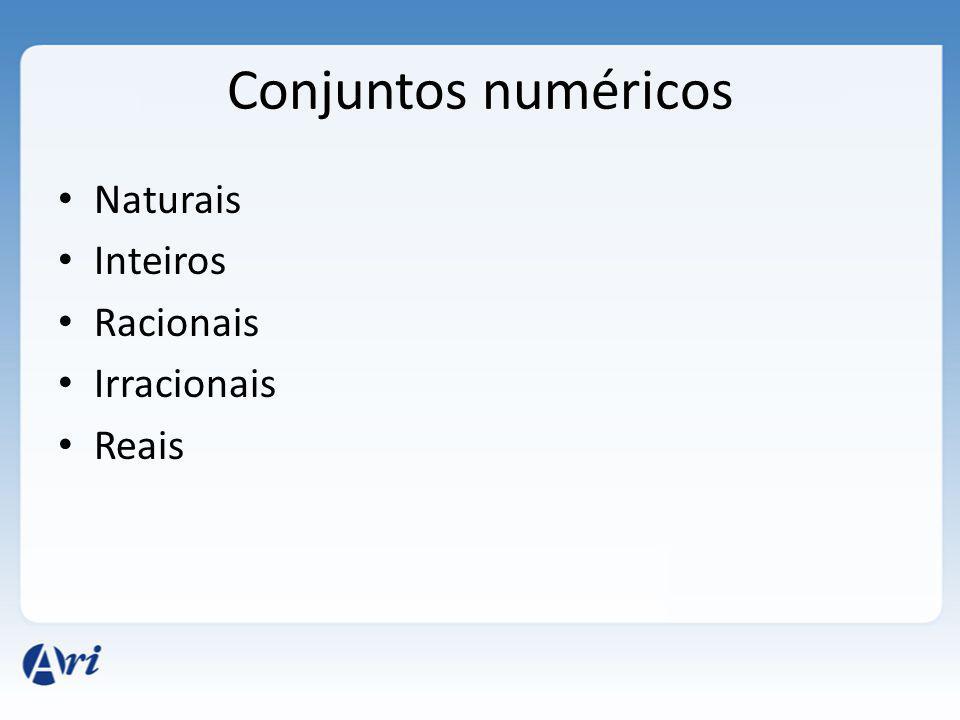 Conjuntos numéricos Naturais Inteiros Racionais Irracionais Reais