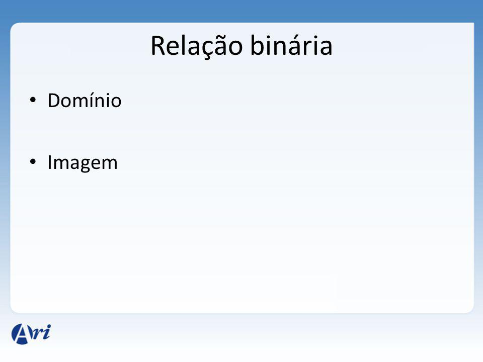 Relação binária Domínio Imagem