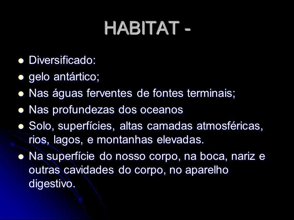 HABITAT - Diversificado: gelo antártico; Nas águas ferventes de fontes terminais; Nas profundezas dos oceanos Solo, superfícies, altas camadas atmosfé
