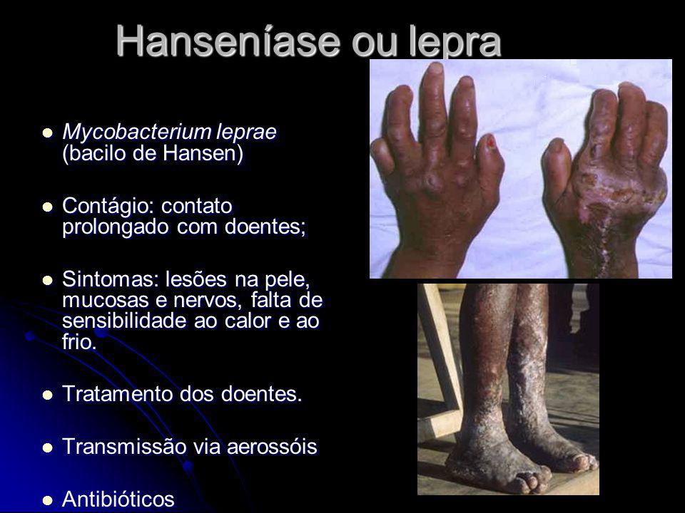 Hanseníase ou lepra Mycobacterium leprae (bacilo de Hansen) Mycobacterium leprae (bacilo de Hansen) Contágio: contato prolongado com doentes; Contágio
