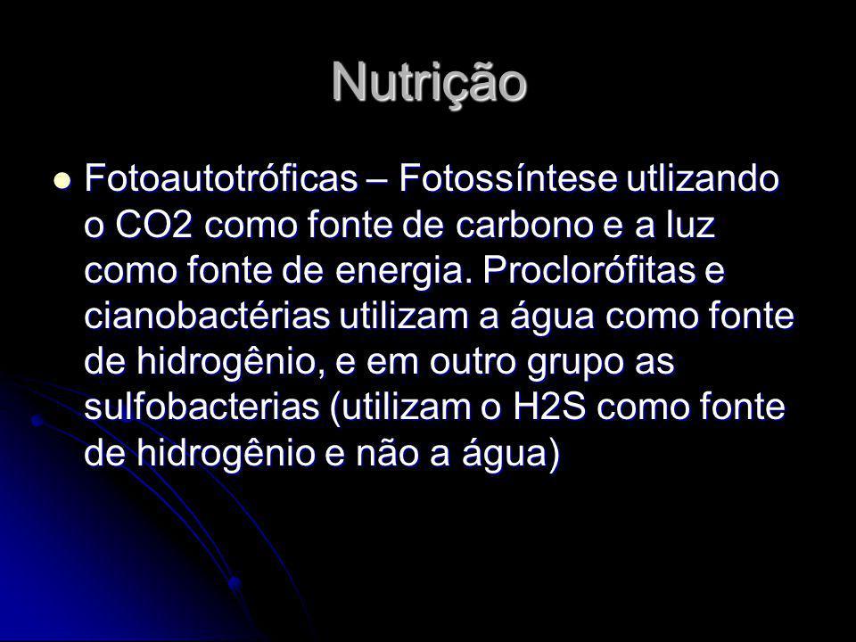 Nutrição Fotoautotróficas – Fotossíntese utlizando o CO2 como fonte de carbono e a luz como fonte de energia. Proclorófitas e cianobactérias utilizam