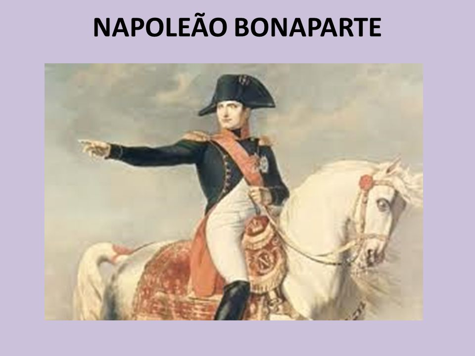NAPOLEÃO BONAPARTE Nascido em 1769 na ilha da Córsega Gênio militar Subtenente - 16 anos General de Brigada - 24 anos General de Divisão - 25 anos Cônsul - 30 anos Imperador - 35 anos Morreu aos 52 anos