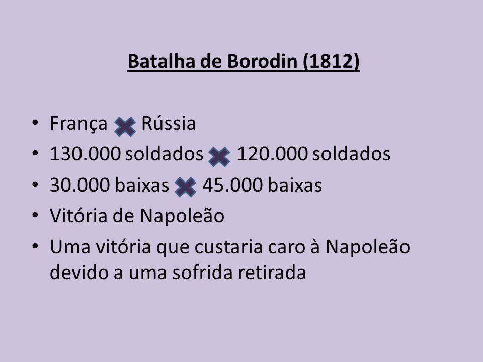 Batalha de Borodin (1812) França Rússia 130.000 soldados 120.000 soldados 30.000 baixas 45.000 baixas Vitória de Napoleão Uma vitória que custaria caro à Napoleão devido a uma sofrida retirada