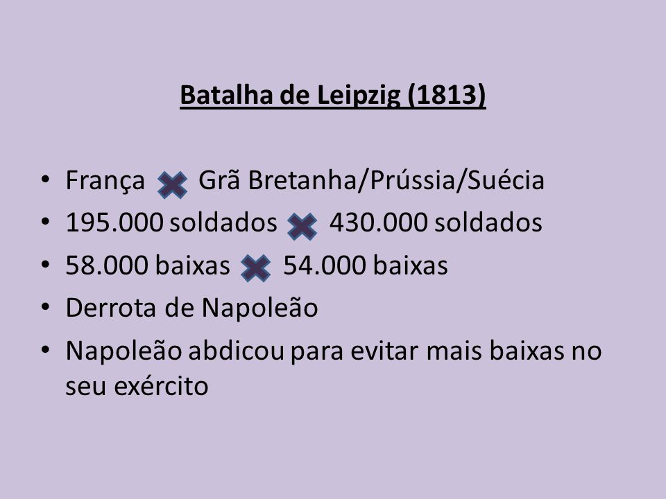 Batalha de Leipzig (1813) França Grã Bretanha/Prússia/Suécia 195.000 soldados 430.000 soldados 58.000 baixas 54.000 baixas Derrota de Napoleão Napoleão abdicou para evitar mais baixas no seu exército