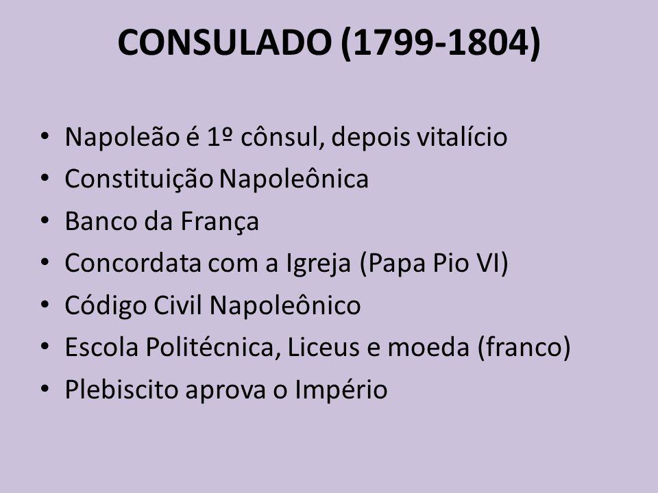 CONSULADO (1799-1804) Napoleão é 1º cônsul, depois vitalício Constituição Napoleônica Banco da França Concordata com a Igreja (Papa Pio VI) Código Civ