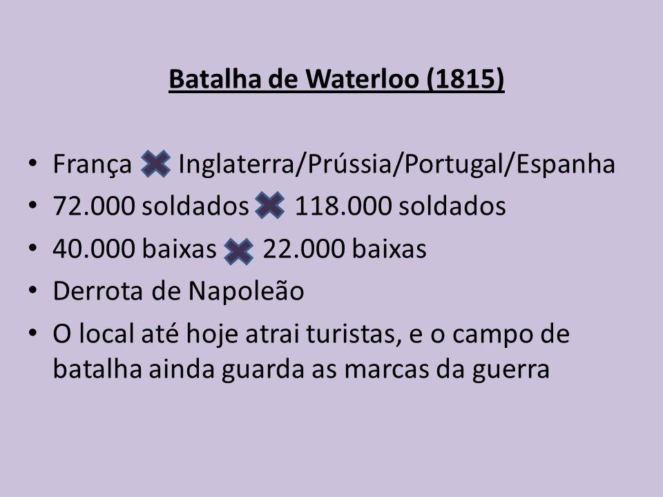 Batalha de Waterloo (1815) França Inglaterra/Prússia/Portugal/Espanha 72.000 soldados 118.000 soldados 40.000 baixas 22.000 baixas Derrota de Napoleão O local até hoje atrai turistas, e o campo de batalha ainda guarda as marcas da guerra