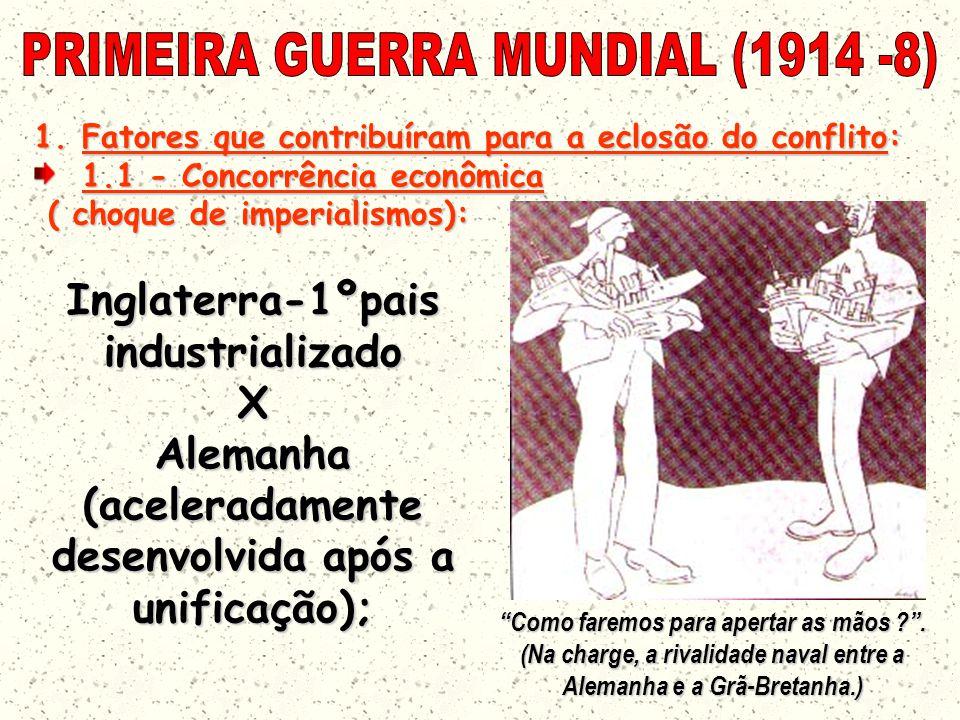 1.Fatores que contribuíram para a eclosão do conflito: 1.1 - Concorrência econômica ( choque de imperialismos): ( choque de imperialismos): Como faremos para apertar as mãos ?.
