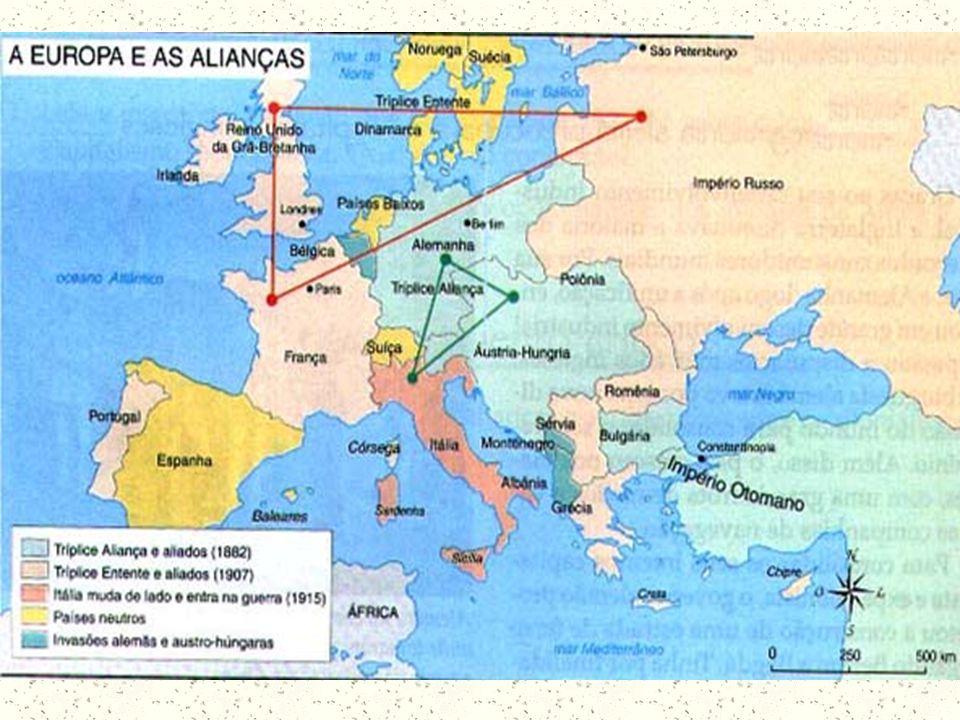 2 - Inicia-se a guerra ( 28 de julho/1914) O império Áustro- Húngaro declara guerra à Sérvia; O império Áustro- Húngaro declara guerra à Sérvia; A Rússia mobiliza- se contra os Áustro- húngaros e alemães; A Rússia mobiliza- se contra os Áustro- húngaros e alemães; A Alemanha ataca a Bélgica (neutra) para chegar à França ( Plano Schlieffen), Generalizando o conflito.