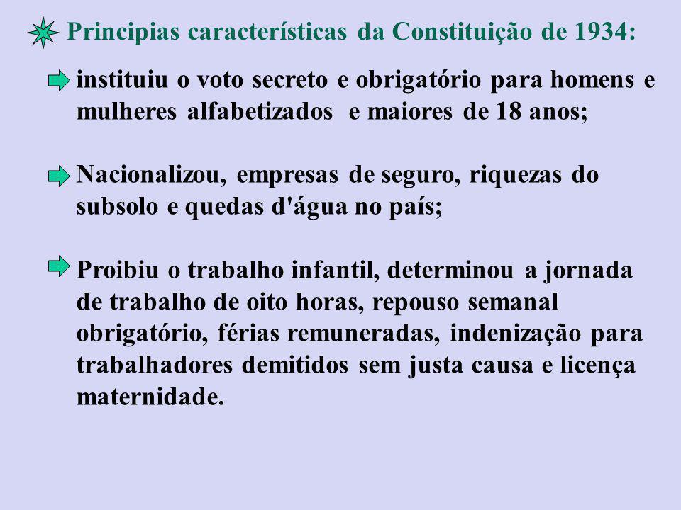 Principias características da Constituição de 1934: instituiu o voto secreto e obrigatório para homens e mulheres alfabetizados e maiores de 18 anos;