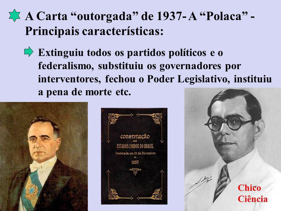A Carta outorgada de 1937- A Polaca - Principais características: Extinguiu todos os partidos políticos e o federalismo, substituiu os governadores por interventores, fechou o Poder Legislativo, instituiu a pena de morte etc.