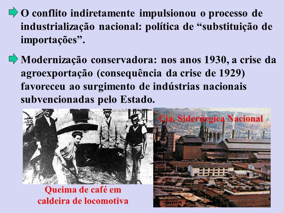 O conflito indiretamente impulsionou o processo de industrialização nacional: política de substituição de importações.