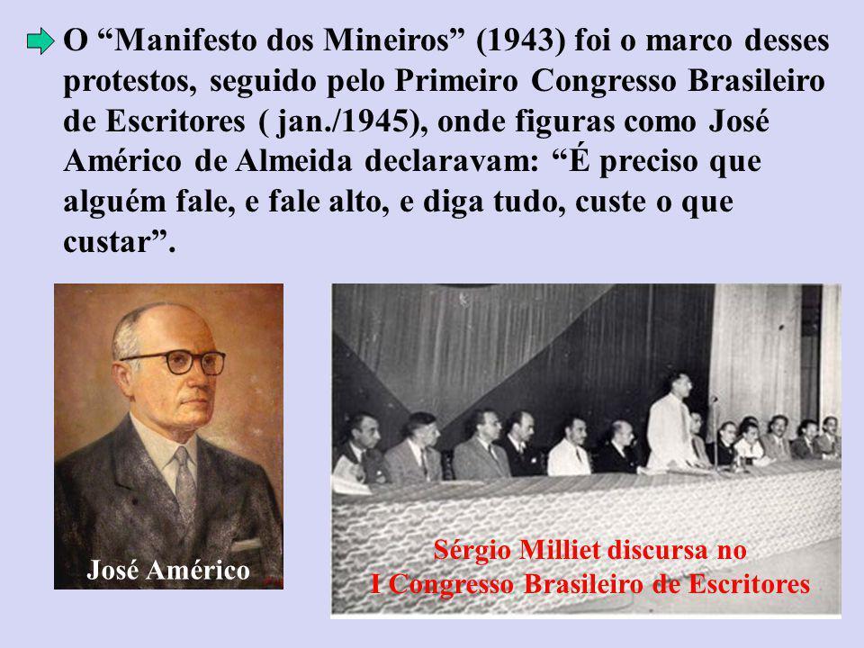 O Manifesto dos Mineiros (1943) foi o marco desses protestos, seguido pelo Primeiro Congresso Brasileiro de Escritores ( jan./1945), onde figuras como José Américo de Almeida declaravam: É preciso que alguém fale, e fale alto, e diga tudo, custe o que custar.