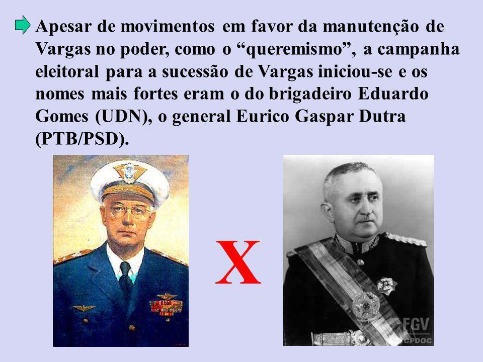 Apesar de movimentos em favor da manutenção de Vargas no poder, como o queremismo, a campanha eleitoral para a sucessão de Vargas iniciou-se e os nomes mais fortes eram o do brigadeiro Eduardo Gomes (UDN), o general Eurico Gaspar Dutra (PTB/PSD).
