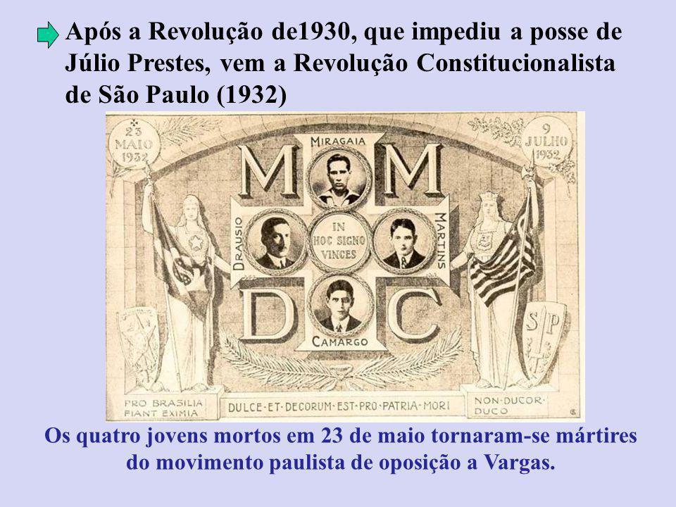 Após a Revolução de1930, que impediu a posse de Júlio Prestes, vem a Revolução Constitucionalista de São Paulo (1932) Os quatro jovens mortos em 23 de maio tornaram-se mártires do movimento paulista de oposição a Vargas.