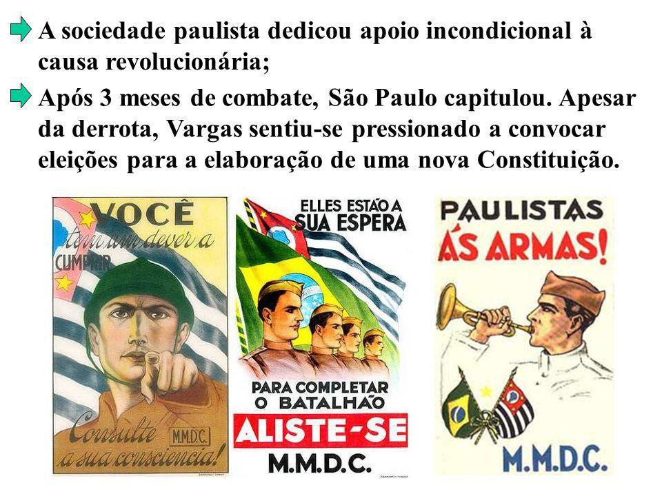A sociedade paulista dedicou apoio incondicional à causa revolucionária; Após 3 meses de combate, São Paulo capitulou. Apesar da derrota, Vargas senti