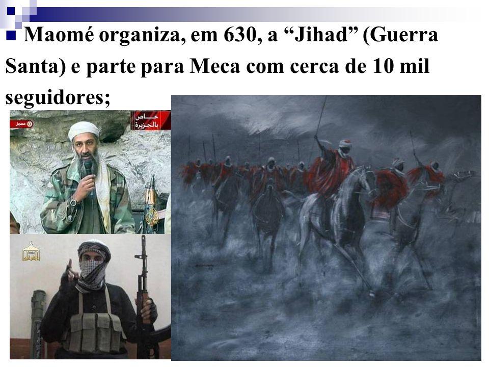 Maomé pregando Em Meca, em 630, após tomada da cidade e sua conversão ao Islamismo; Após sua morte, em 632, seus sucessores, os califas, iniciariam a expansão islâmica para além da Península Arábica.