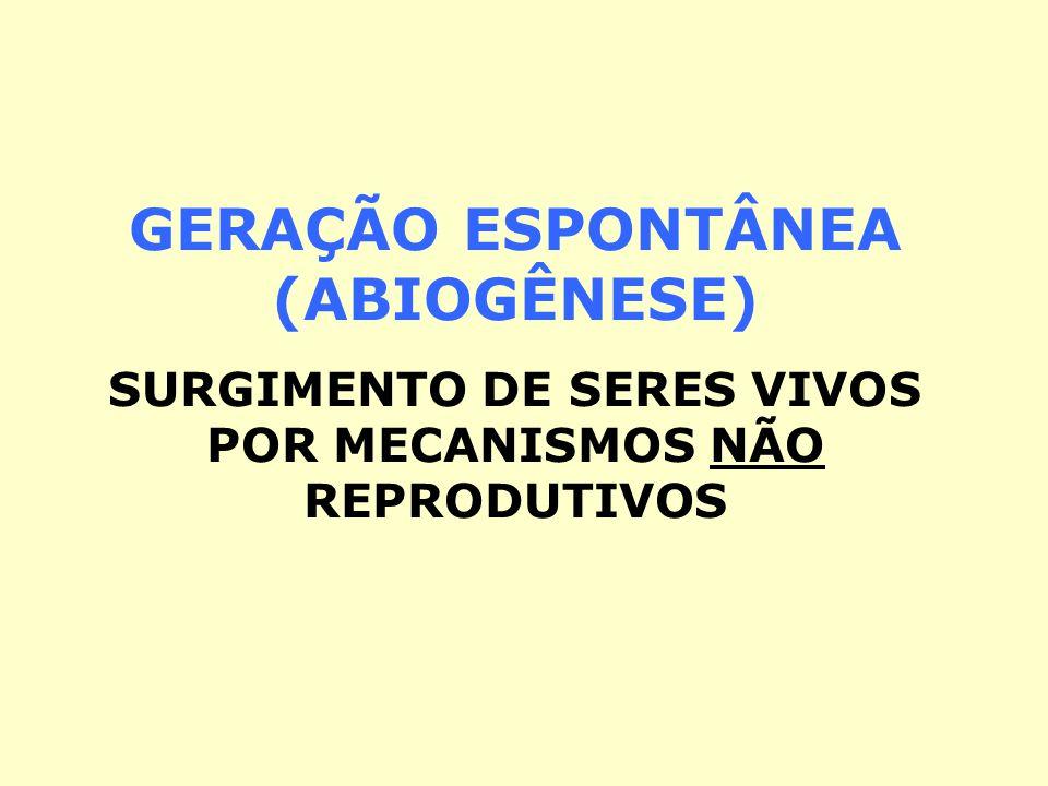 GERAÇÃO ESPONTÂNEA (ABIOGÊNESE) SURGIMENTO DE SERES VIVOS POR MECANISMOS NÃO REPRODUTIVOS