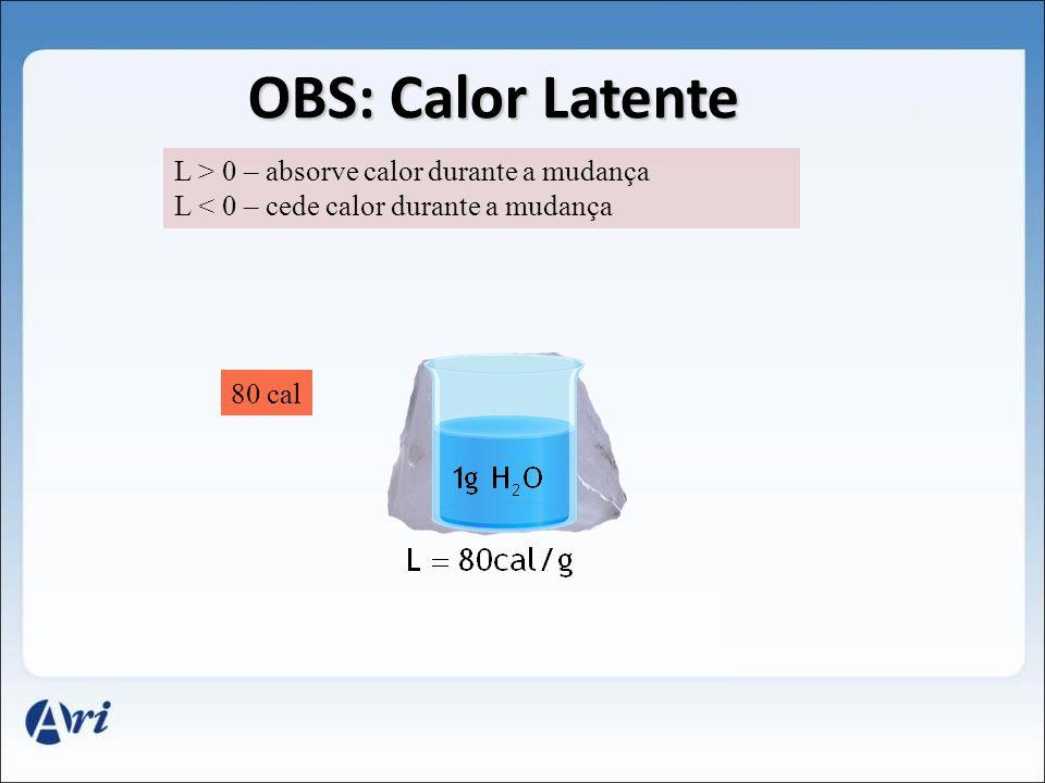 L > 0 – absorve calor durante a mudança L < 0 – cede calor durante a mudança 1g 80 cal OBS: Calor Latente
