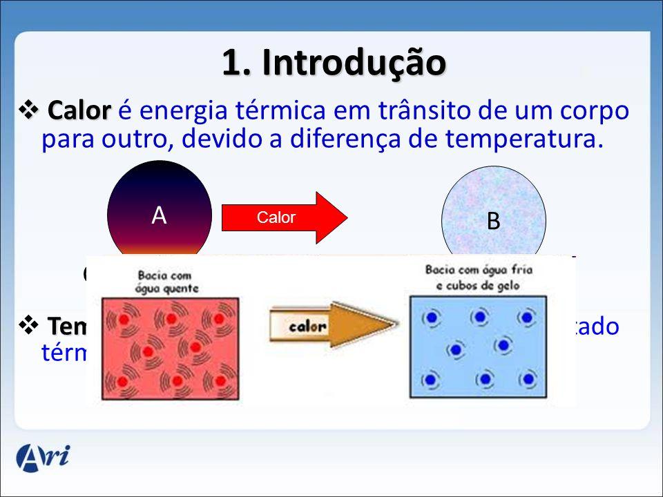 1. Introdução C Calor é energia térmica em trânsito de um corpo para outro, devido a diferença de temperatura. Temperatura é a grandeza que caracteriz