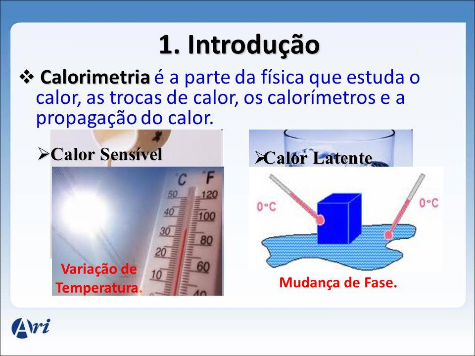 C Calorimetria é a parte da física que estuda o calor, as trocas de calor, os calorímetros e a propagação do calor. 1. Introdução Calor Latente C Calo