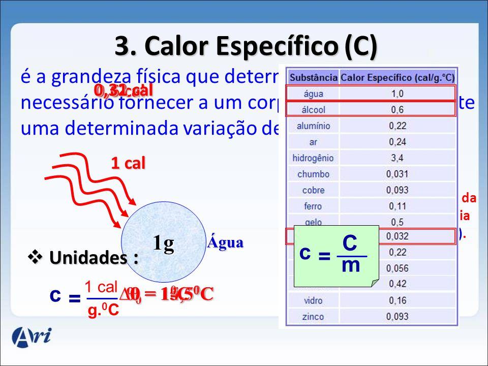 c C = m. Capacidade Térmica (cal/ 0 C) Calor Específico da Substância ( cal/g 0 C). massa(g). 3. Calor Específico (C) é a grandeza física que determin