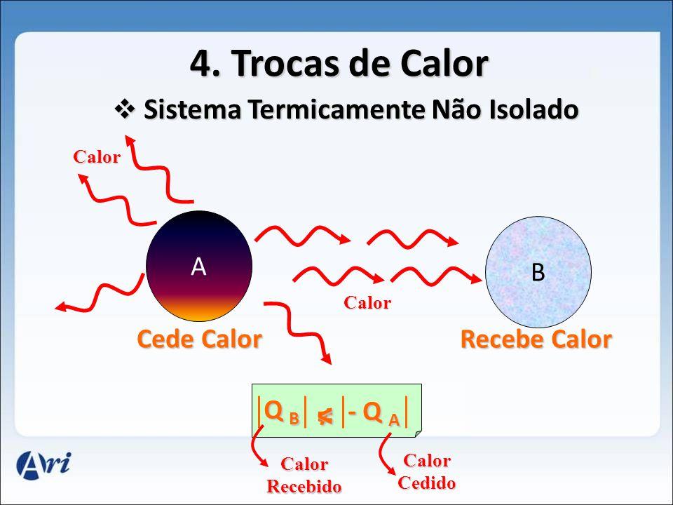 4. Trocas de Calor A B Cede Calor Recebe Calor Calor Calor S Sistema Termicamente Não Isolado Q B - Q A Calor Recebido Calor Cedido <