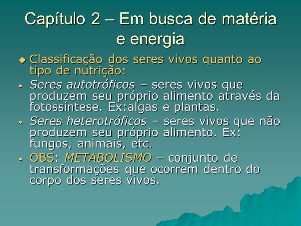 Capítulo 2 – Em busca de matéria e energia Classificação dos seres vivos quanto ao tipo de nutrição: Classificação dos seres vivos quanto ao tipo de n