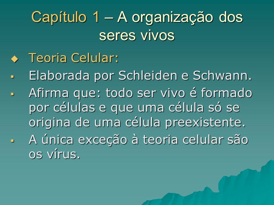 Capítulo 1 – A organização dos seres vivos Teoria Celular: Teoria Celular: Elaborada por Schleiden e Schwann. Elaborada por Schleiden e Schwann. Afirm