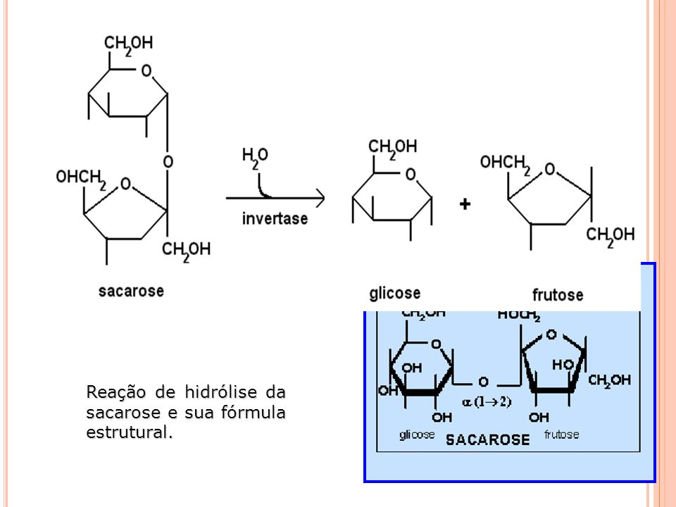 Reação de hidrólise da sacarose e sua fórmula estrutural.
