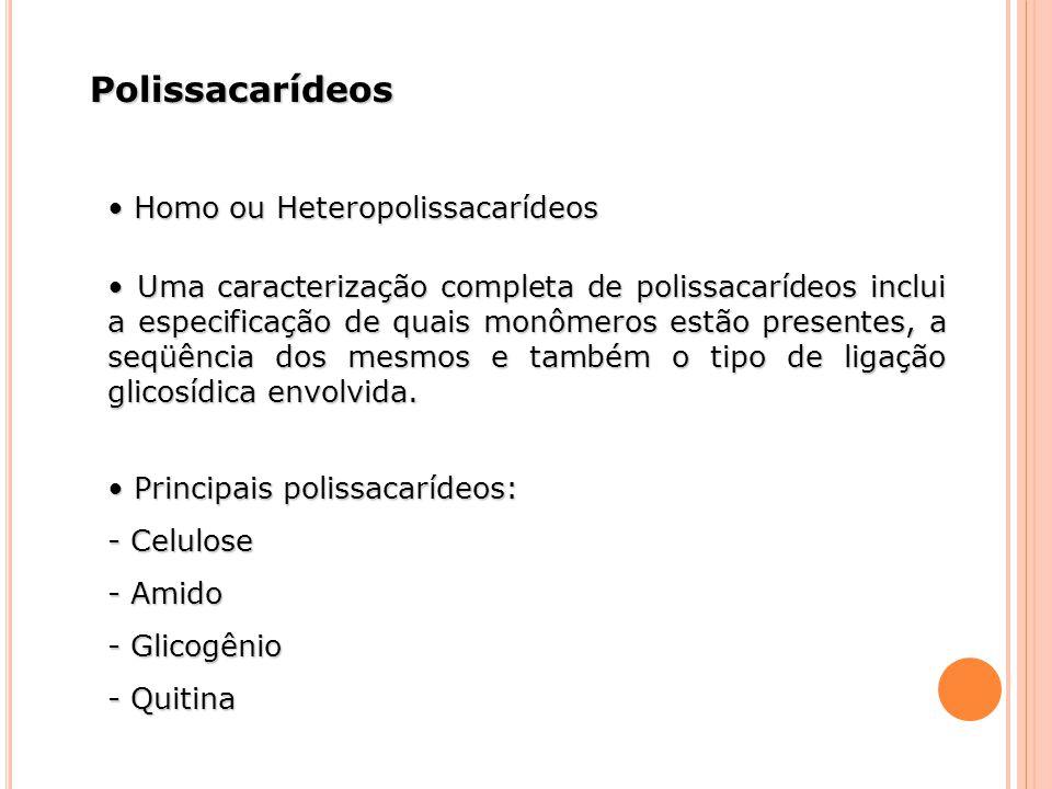 Polissacarídeos Homo ou Heteropolissacarídeos Homo ou Heteropolissacarídeos Uma caracterização completa de polissacarídeos inclui a especificação de q