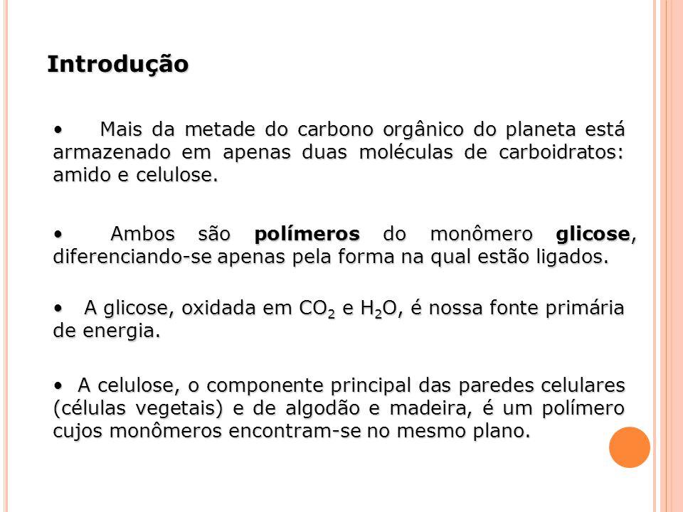 Introdução Mais da metade do carbono orgânico do planeta está armazenado em apenas duas moléculas de carboidratos: amido e celulose. Mais da metade do