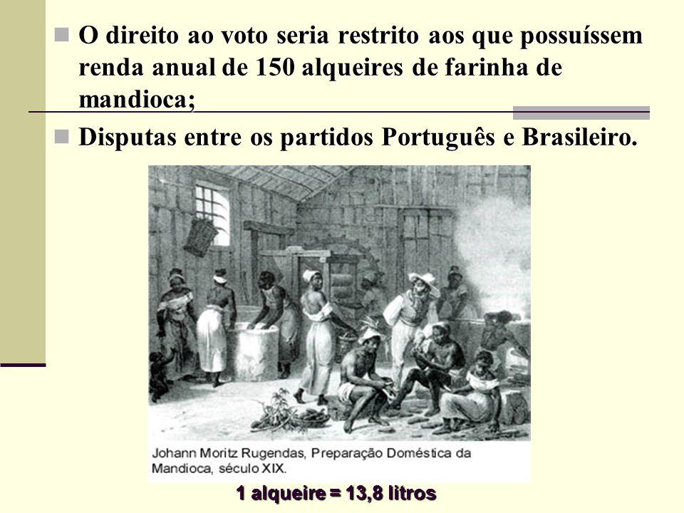 O direito ao voto seria restrito aos que possuíssem renda anual de 150 alqueires de farinha de mandioca; O direito ao voto seria restrito aos que possuíssem renda anual de 150 alqueires de farinha de mandioca; Disputas entre os partidos Português e Brasileiro.