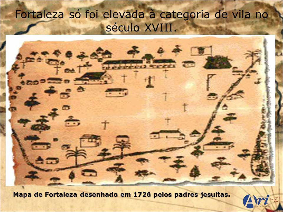 Mapa de Fortaleza desenhado em 1726 pelos padres jesuítas.
