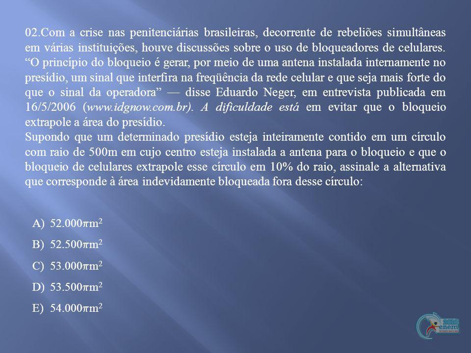 02.Com a crise nas penitenciárias brasileiras, decorrente de rebeliões simultâneas em várias instituições, houve discussões sobre o uso de bloqueadore