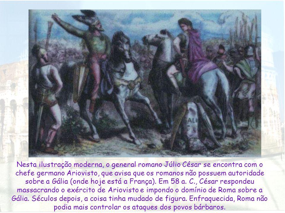 Nesta ilustração moderna, o general romano Júlio César se encontra com o chefe germano Ariovisto, que avisa que os romanos não possuem autoridade sobr