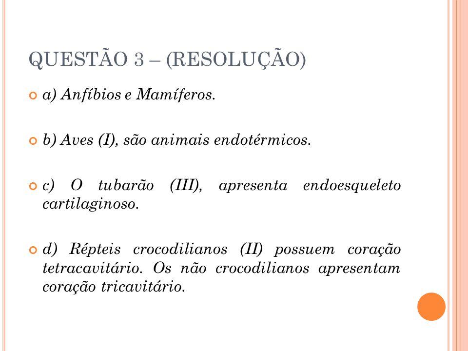 QUESTÃO 3 – (RESOLUÇÃO) a) Anfíbios e Mamíferos. b) Aves (I), são animais endotérmicos.