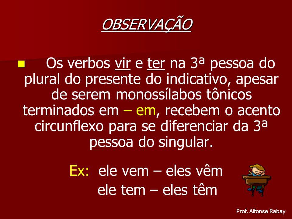 OBSERVAÇÃO Os verbos vir e ter na 3ª pessoa do plural do presente do indicativo, apesar de serem monossílabos tônicos terminados em – em, recebem o ac
