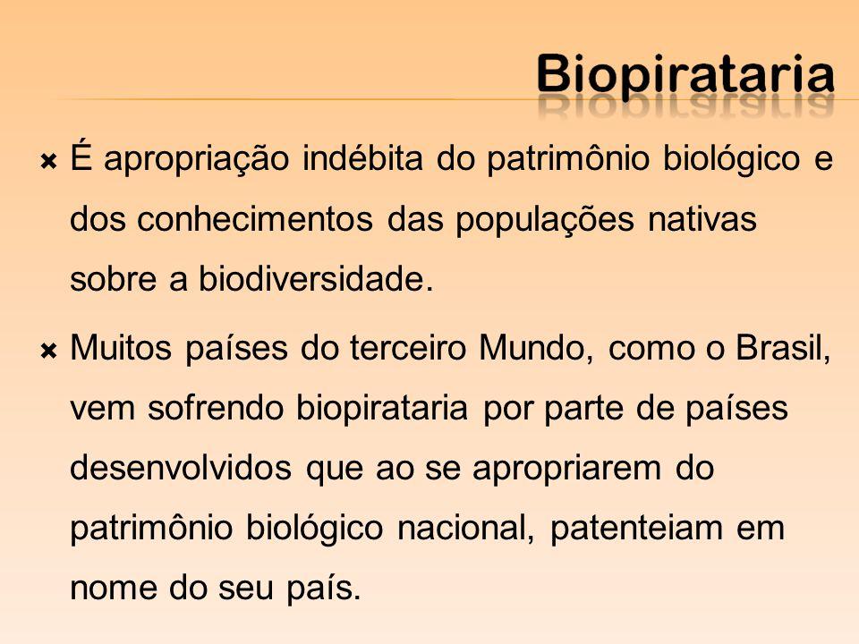 É apropriação indébita do patrimônio biológico e dos conhecimentos das populações nativas sobre a biodiversidade. Muitos países do terceiro Mundo, com