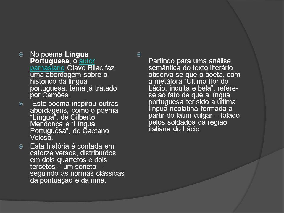No poema Língua Portuguesa, o autor parnasiano Olavo Bilac faz uma abordagem sobre o histórico da língua portuguesa, tema já tratado por Camões.autor
